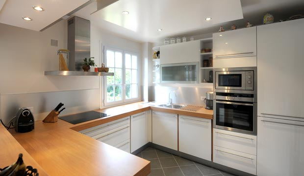 Cuisine Blanc Laque Plan Travail Bois Atwebster Fr Maison Et