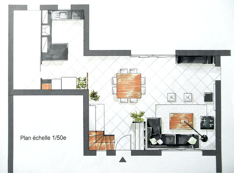 Plan salon cuisine ouverte 40m2 maison et - Plan de maison avec cuisine ouverte ...