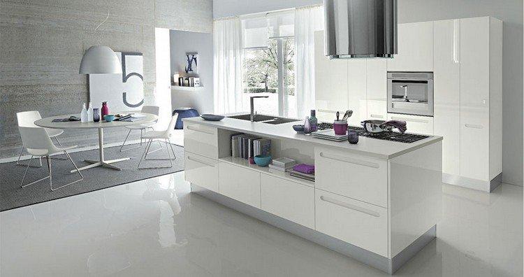 Cuisine Blanc Laque Plan De Travail Gris Atwebster Fr Maison Et