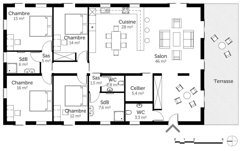 plan de maison 2 chambres salon cuisine pdf maison et mobilier. Black Bedroom Furniture Sets. Home Design Ideas