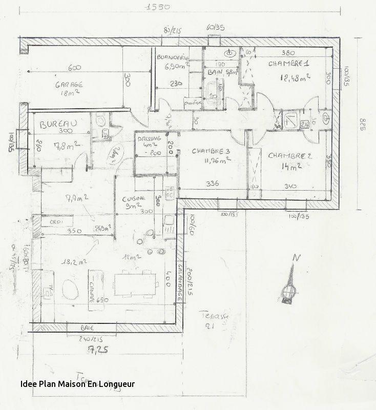 Plan cuisine longueur maison et mobilier - Plan de travail cuisine grande longueur ...