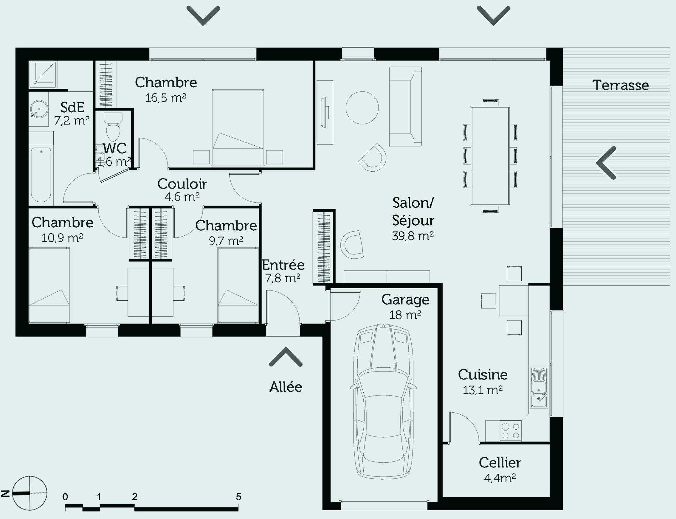 Plan maison entree cuisine - Atwebster.fr - Maison et mobilier