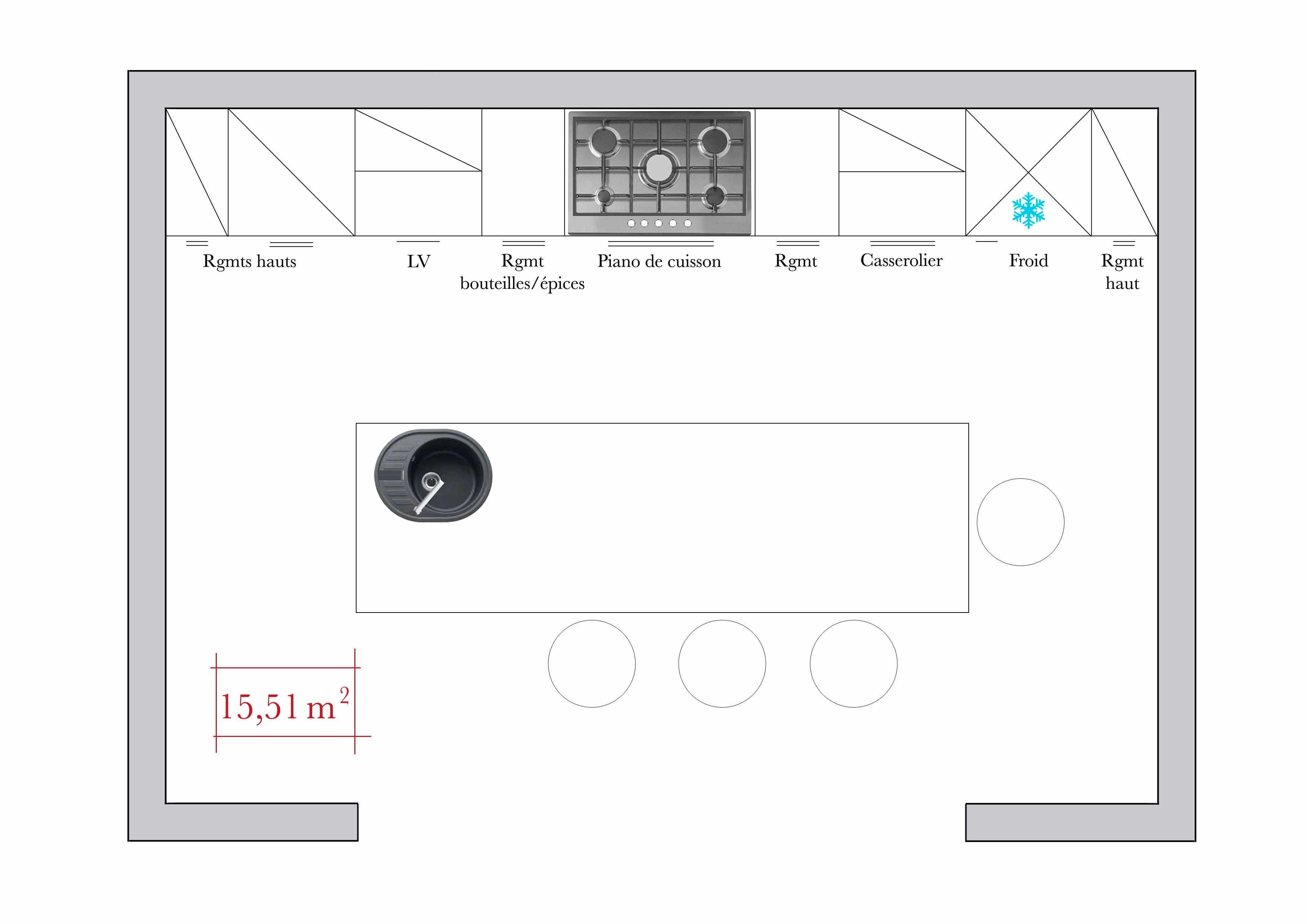Plan de cuisine lineaire - Atwebster.fr - Maison et mobilier