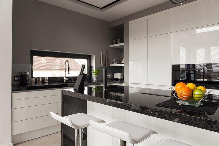 Cuisine Blanche Plan Travail Granit Noir Atwebster Fr Maison Et