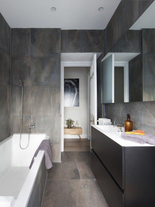 Carrelage adhésif gris salle de bain - Atwebster.fr - Maison et mobilier