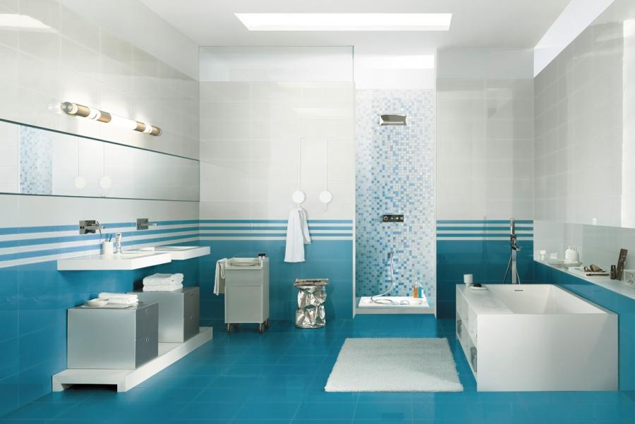 Carrelage salle de bain turquoise et blanc - Atwebster.fr - Maison ...