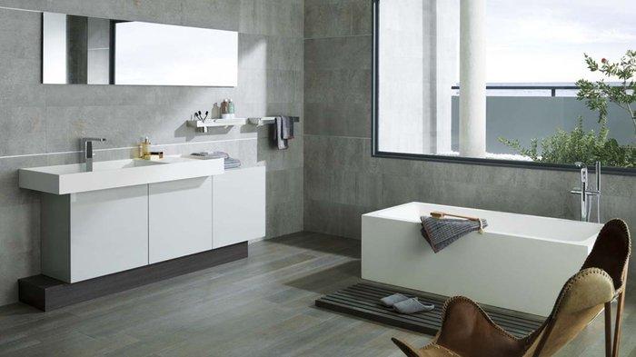 Carrelage salle de bain ton gris - Atwebster.fr - Maison et mobilier