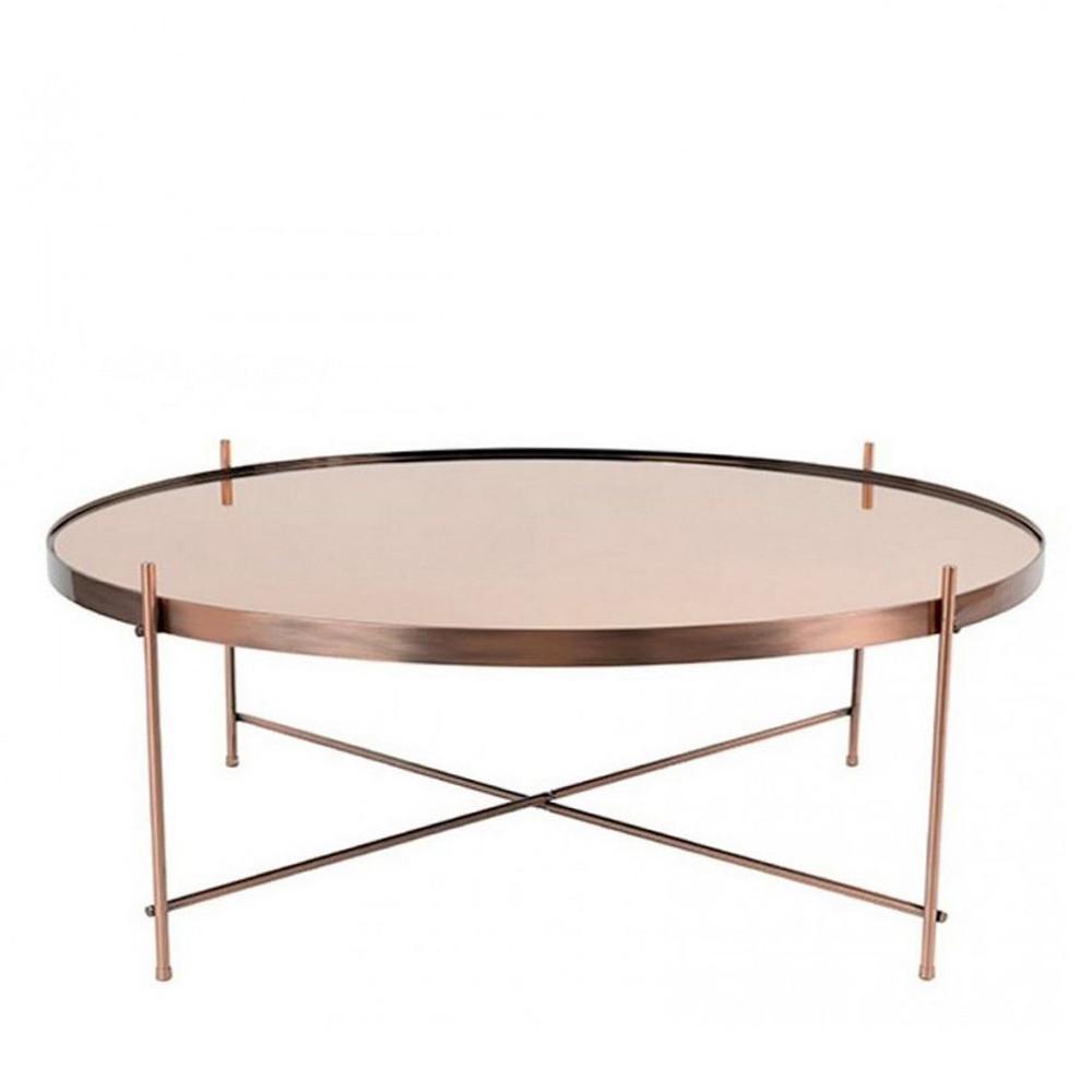 Table basse ronde cuivrée