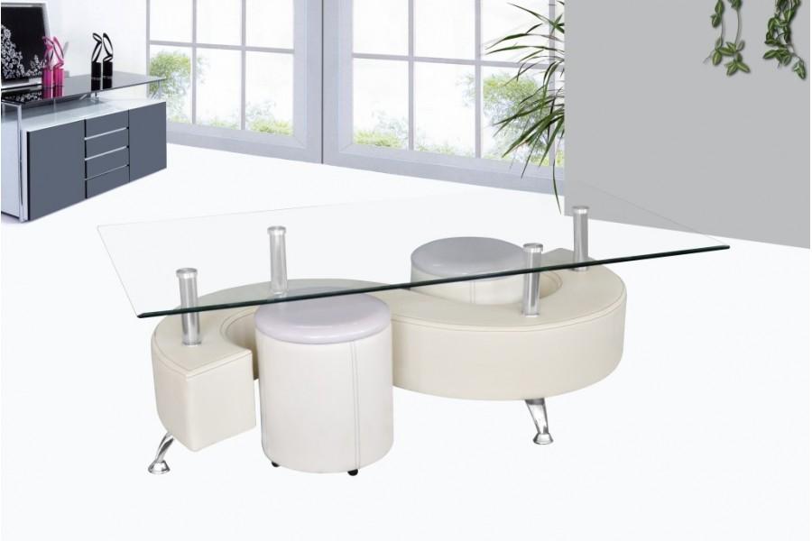 Table Basse En Verre Avec Pouf Blanc Lille Menagefr Maison