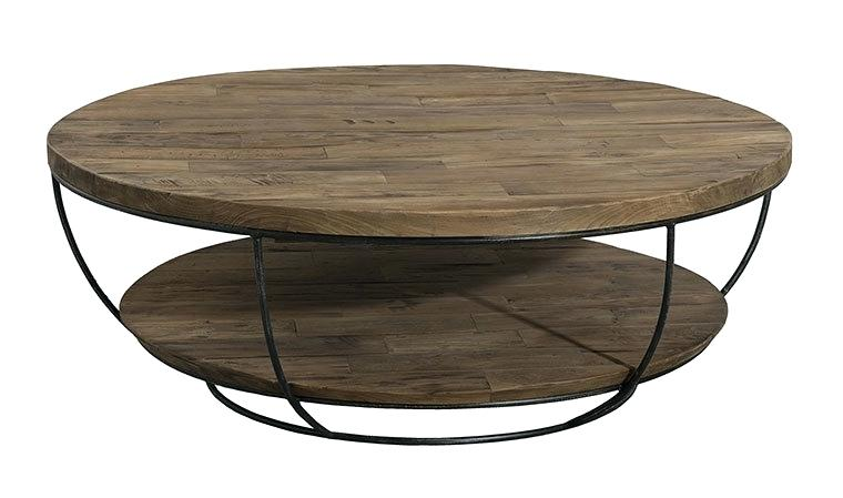 Table basse ronde double plateau