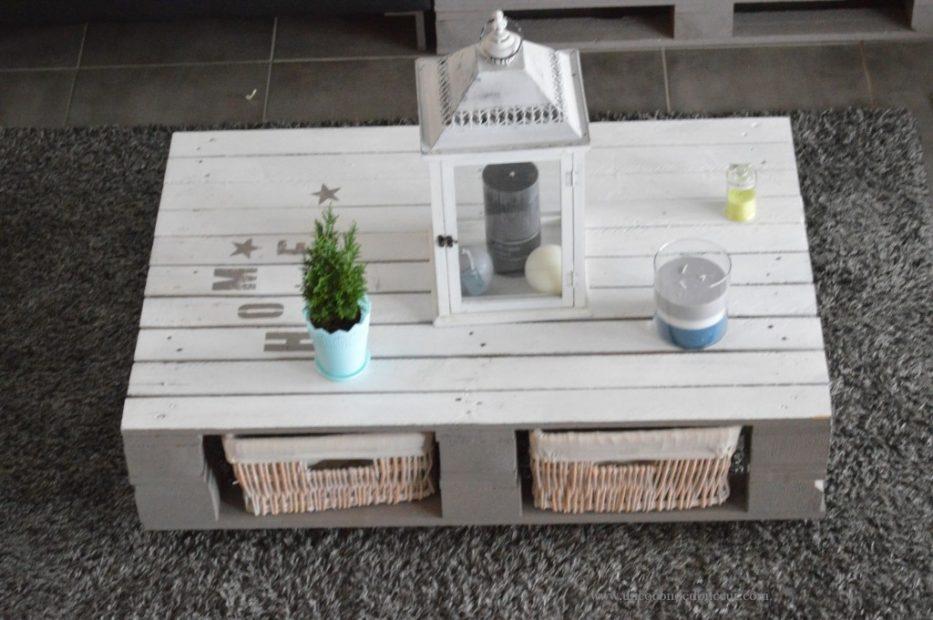 Table basse en palette blanche maison et Table basse palette blanche