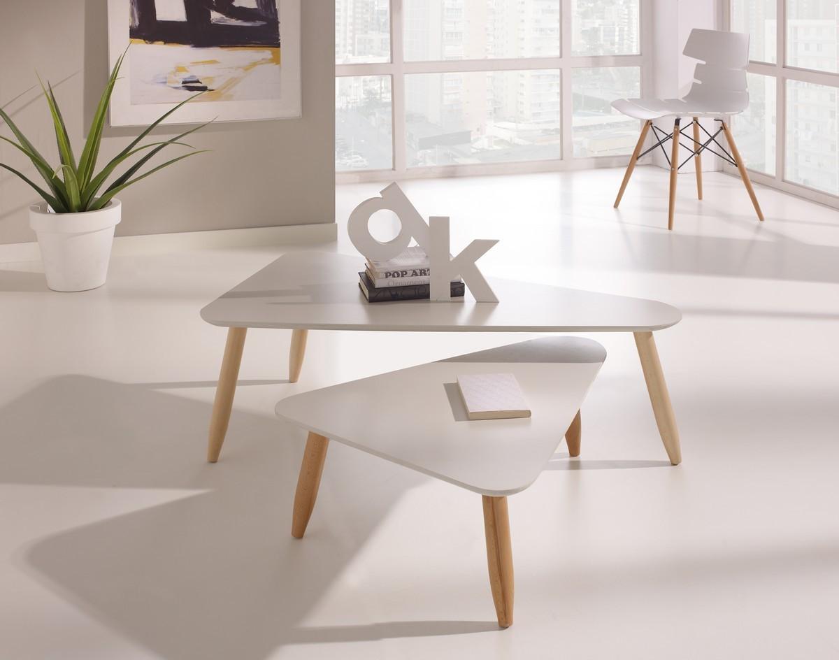 Table Basse Gigogne Blanc Et Bois Atwebsterfr Maison Et Mobilier