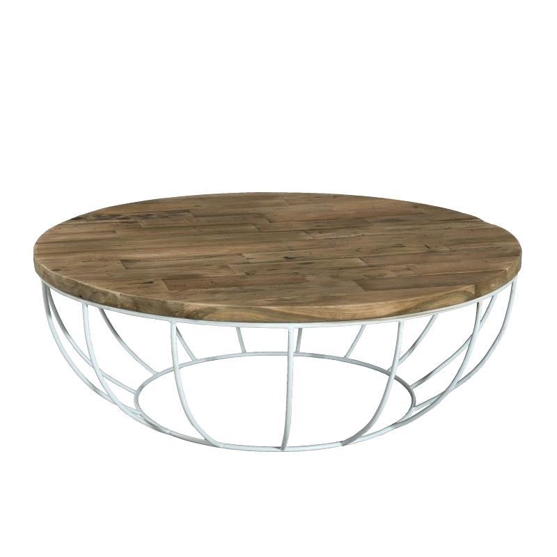 Table basse ronde blanc et bois