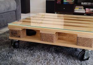 table basse palette roulettes maison et. Black Bedroom Furniture Sets. Home Design Ideas