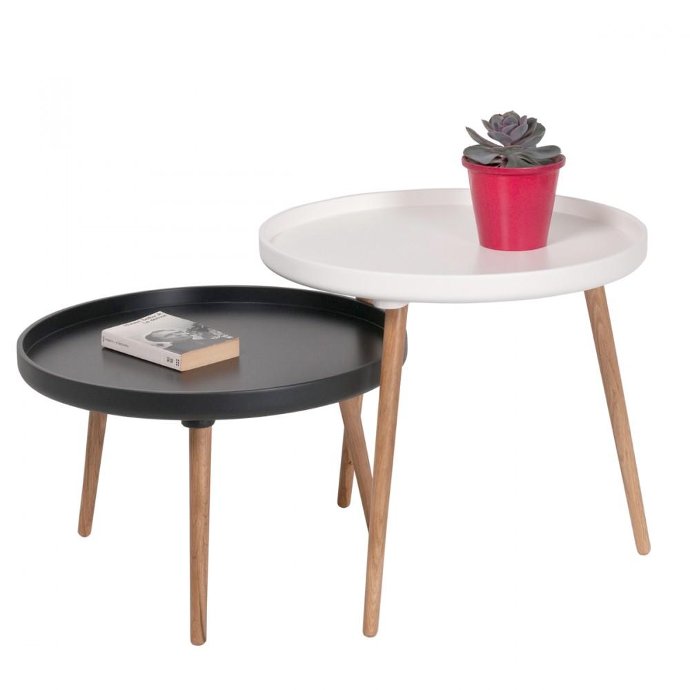 Table Basse Gigogne Coloris Blanc Noir Atwebster Fr Maison Et