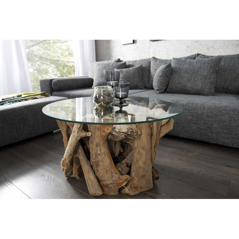 Table basse ronde bois flotté