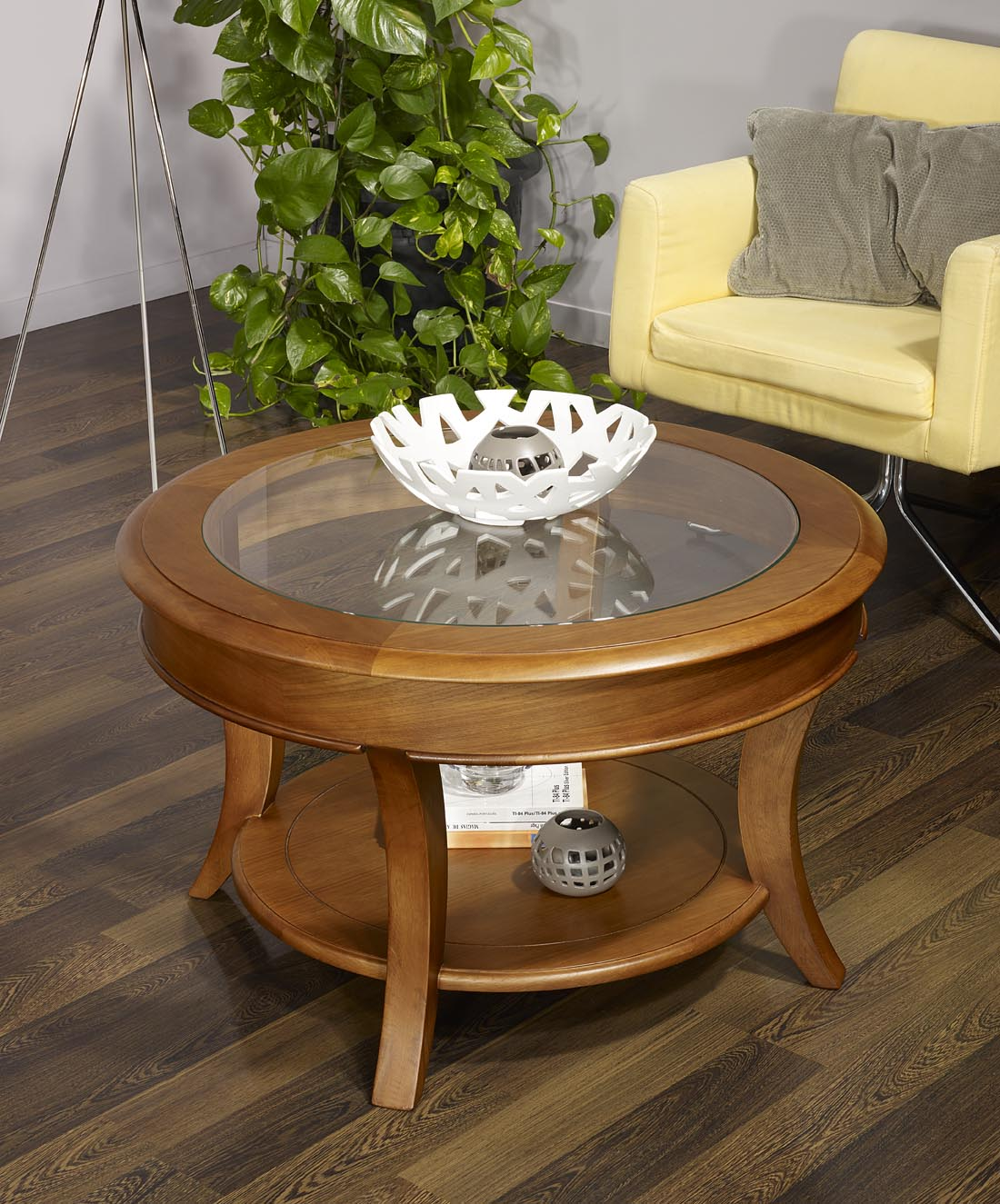 Table basse ronde bois brut