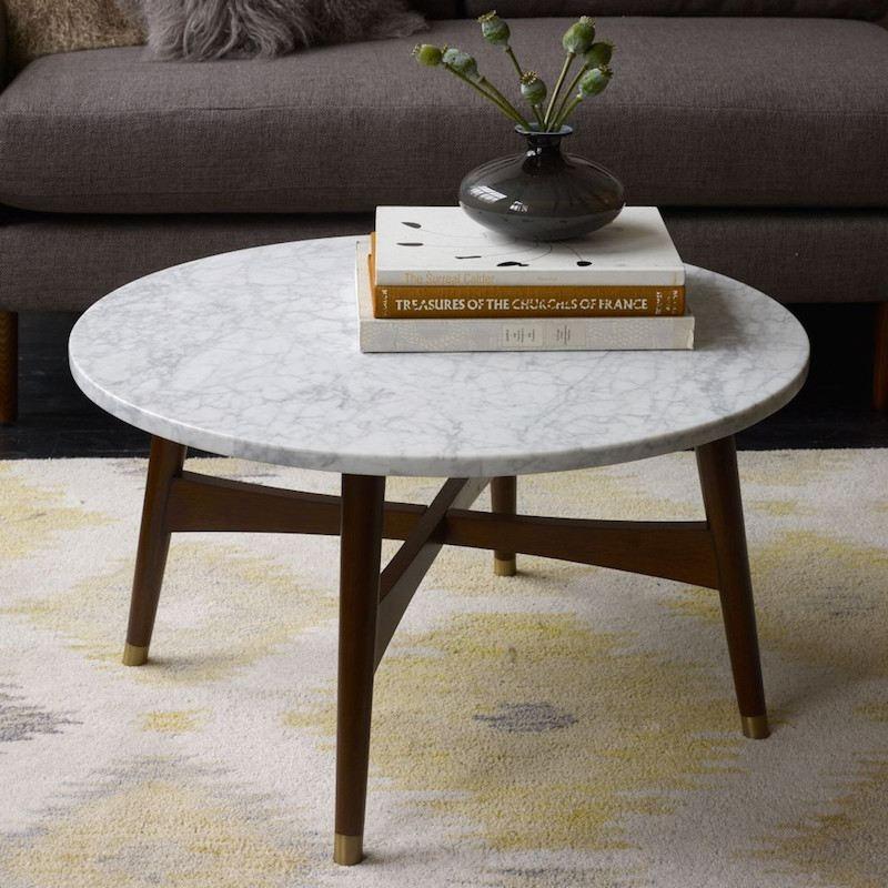Table Basse Plateau Marbre Blanc Atwebster Fr Maison Et Mobilier