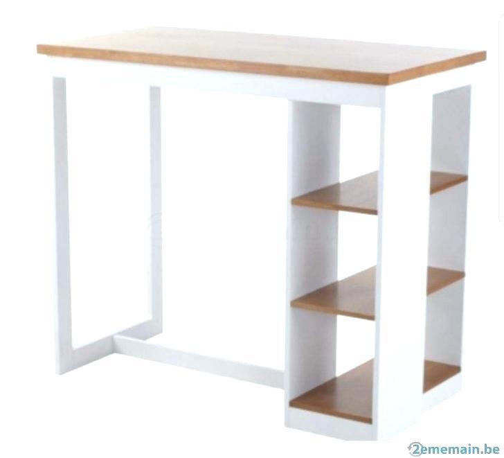 Table Bar Avec Rangements Lateraux Blanc Atwebster Fr Maison Et