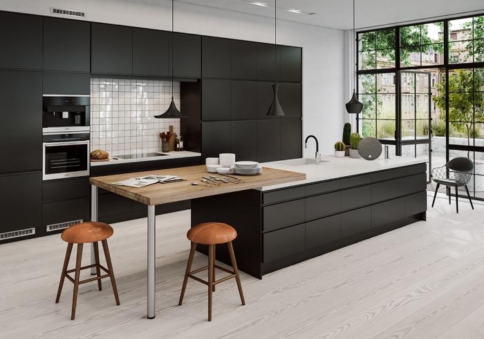 deco cuisine noir et marron maison et mobilier. Black Bedroom Furniture Sets. Home Design Ideas